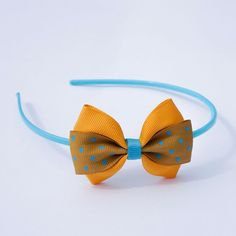 Polka dotted Hair Band/Grosgrain Hair Bow/Hair bow for by DamDamu