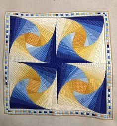 Twister by Patricia A. Spencer - This embroidery project is very very similar to a wall hanging I made from a pattern written in German. - have a paper pieced quilt block that would look like this if four were put together correctly. Longarm Quilting, Free Motion Quilting, Machine Quilting, Quilting Projects, Quilting Designs, Log Cabin Quilts, Barn Quilts, Paper Piecing Patterns, Quilt Patterns
