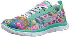 Skechers Flex Appeal Floral Bloom Womens SneakersAqua/Multi