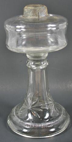 Pressed Glass Star Pattern Oil Lamp