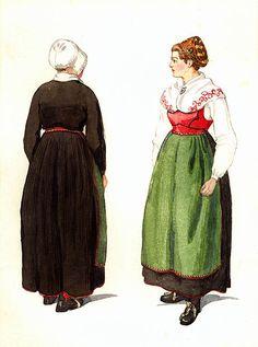 Folkdräkt, helgdagsdräkt, Ny socken, Värmland. Kvinnodräkt. Akvarell av Emelie von Walterstorff. 1900-1930