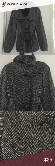 H&M Grey and black tweed jacket. Funnel neck grey and black tweed car coat! Good condition! H&M Jackets & Coats Pea Coats