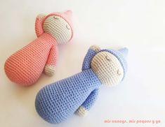 mis nancys, mis peques y yo, mellizos dormilones, pareja de bebes amigurumis, bebes azul y rosa