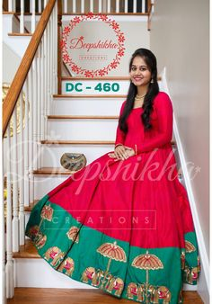 DC - Beautiful Red and green anarkali gown with elephant an dumbrella hand embroidery. Huge border with full sleeves are wonderful combinatioon. For queries kindly WhatsApp : 9059683293 05 April 2018 Indian Long Frocks, Indian Gowns, Indian Wear, Indian Designer Outfits, Indian Outfits, Designer Dresses, Kalamkari Dresses, Frocks And Gowns, Anarkali Gown