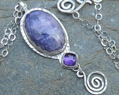 Purple Gemstone Stone and Sterling Silver by PureDichotomy on Etsy, $225.00
