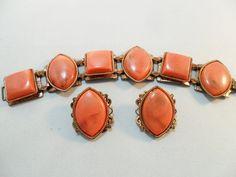 Vintage Bracelet & Earrings SET Copper Metal Art by KathiJanes, $34.95