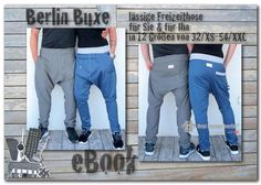 9b4ada652b Berlin hanging pants *** eBook PDF-Pattern sewing instruction in 12 sizes XS -XXL for him and her by firstloungeberlin Boys Girls Women Men