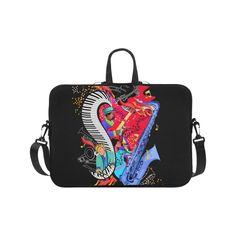 """Colorful Jazz Music Sax Piano Laptop Handbags 17"""".Colorful Jazz Music Sax Piano Design"""