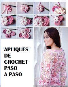 Step by Step Tutorial Applique - Crochet Patterns Freeform Crochet, Crochet Motif, Crochet Flowers, Crochet Lace, Crochet Unique, Irish Crochet Patterns, Crochet Shirt, Irish Lace, Crochet Videos