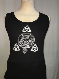 Ladies cotton vest top with Graham clan crest. Antiqued Celtic design