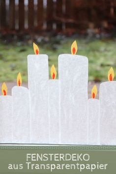 Tracing paper candles: Window decorations can be made cheaply and easily from tracing paper. The transparent paper candles look like Christmas window picture as transparent paper. Red candles and white candles are particularly pretty. Decoration Creche, Decoration Chic, Christmas Window Decorations, Christmas Candles, Modern Kids Decor, Cute Home Decor, White Candles, Pillar Candles, Diy Crafts To Do