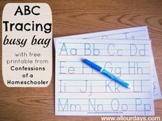 ABC Tracing Busy Bag (1 of 5 Dry Erase Busy Bag Ideas) 31 Days of Busy Bags & Quiet Time Activities @ AllOurDays.com