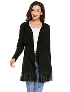 b0604c9528 Opino Women s Long Sleeve Lightweight Open Front Draped Lace Patchwork  Hooded Cardigan Midi Coat Sweater Review