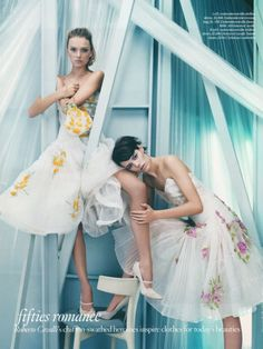 Lily Donaldson and Freja Beha in Vogue Uk August 2008, Before The Fall.