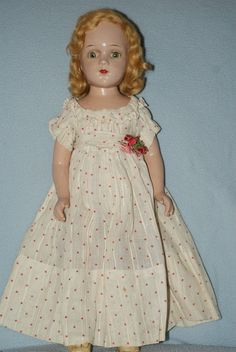 """Pretty Vintage 17"""" Arranbee R&B Debuteen Composition With Cloth Body Tin Eyes"""