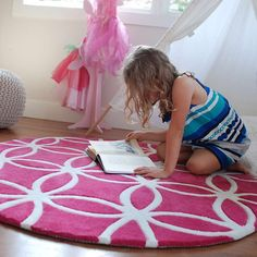 Beautiful bright pink rug for girls.  Divine in any little or big girl's room.