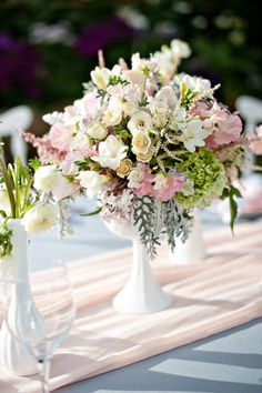 Tablescapes - milk glass bouquets and arrangements / vases and pedestal candy dish