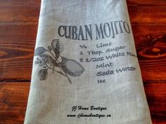 Linen Kitchen Tea Towel with Cuban Mojito Cocktail Recipe Linen - deal nike Linen Towels, Hand Towels, Tea Towels, Cuban Mojito, Nautical Banner, Cocktail Recipes, Cocktails, Engagement Photo Props, Mojito Cocktail