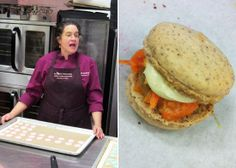 Carrot Cake Macaron in class with ICE Chef Instructor Kathryn Gordon