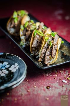 We love a good fusion dish, like this hearty Japanese-Mexican mash-up. | Beef Teriyaki Tacos