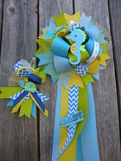 under the sea baby shower mum set of two by bonbow on Etsy, $24.98
