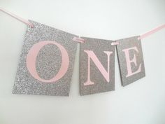 One Banner Girl First Birthday Banner One by SignsationalSayings