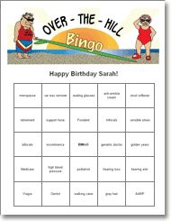 Print And Play Over The Hill Bingo Game 65th Birthday Party Ideas