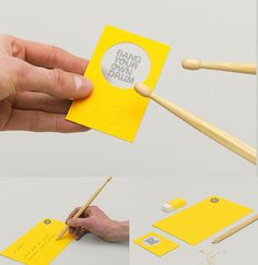Bang Your Own Drum business card is a small drum and the drum sticks are pencils given as gifts.