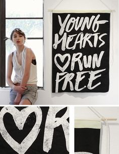 The Minimalist Store x Limited edition Young Hearts wall flag.