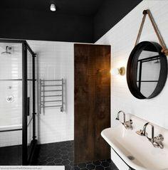 Sexy Modern Bathroom interior, with subway tile and hexagon floor tile - hanging bathroom rope mirror - Fox Home Design Home Design Decor, House Design, Interior Design, Home Decor, Design Ideas, Interior Ideas, Design Interiors, Blog Design, Bad Inspiration