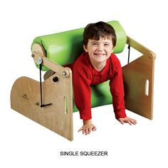 A hug machine! With foam rollers that are held together with heavy-duty bungee cords this deep squeeze machine provides sensory and proprioceptive input for kids with sensory needs or who are on the autism spectrum. The roller can be adjusted to provide just the right amount of pressure for each child. Great for developing your child's imagination and muscles!