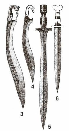 Italian swords, c 400-300BCE: #3&4 are modifications on the basic falcata; #5 is an example of an Italian version of a hoplite sword; #6 is a Greek-type thrusting sword