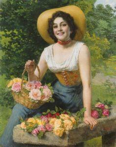 Gathering flowers, Gaetano Bellei 1857-1922.