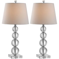 Hayden Crystal Ball Table Lamp- Set of 2 ($760) ❤ liked on Polyvore featuring home, lighting, table lamps, cord lamp, set of two table lamps, crystal glass lamp, stacked crystal lamp and white table lamp