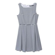 Round Neck Blue And White Stripe Sleeveless Dress