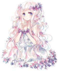 Zu den beliebtesten Tags für dieses Bild zählen: anime, anime girl, flowers, art und kawaii