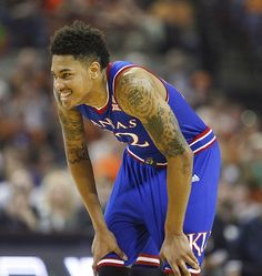 Kansas guard Kelly Oubre Jr. smiles after some hustle on the defensive end turned the ball over to the Jayhawks during the first half, Saturday, Jan. 24, 2015 at Frank Erwin Center in Austin, Texas.