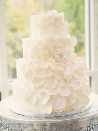 White wedding cake with floral detail