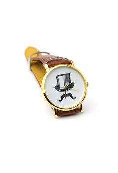 #Chicwish Top Hat Moustache Watch - Accessory - Retro, Indie and Unique Fashion