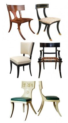 """Here are different examples of a modern take on the Greek's Klismos chair. Some have bottom cushions, some have back cushions, and others are just wood, like the """"original"""" Klismos chair in Ancient Greece. Maybe you even have one in your home now?"""