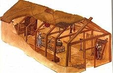 Reminds me of the Iroquois lodges?Page in History: Viking lodge house Viking House, Viking Life, Medieval Life, Viking Men, Viking Ship, Iron Age, Viking Culture, Long House, Norse Vikings
