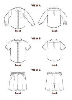 sketchbook shirt + shorts sewing pattern