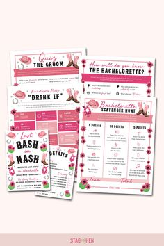 It's not a bachelorette weekend without a few fun games to get the party started! We created four classic and fun Nashville-themed bachelorette party activities the entire bride squad will love. Choose from a Bachelorette Party Scavenger Hunt, Drink If Drinking Game, Groom Quiz, Bridal Trivia or purchase the bundle and get one game free! Pair with matching bachelorette party invitations, cups, coozies and shirts from our Last Bash In Nash Bachelorette Party Collection to complete the theme. Bachelorette Party Scavenger Hunt, Bachelorette Party Activities, Bachelorette Party Invitations, Bachelorette Weekend, Fun Games, Party Games, Drinking Game, Get The Party Started, Party Drinks