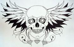 Эскиз татуировки черепа с крыльями