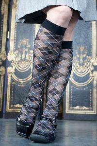 Alessa Argyle Trouser Sock - Slightly sheer argyle makes for an enticingly classic knee high trouser sock.