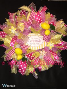 Lemonade Wreath Deco Mesh Wreath Pink and Yellow Wreath Lemon Wreath Grapevine Wreath Lemons Wreath SHIPS NOW!!! by ItsintheDetailsAMY on Etsy https://www.etsy.com/listing/266788973/lemonade-wreath-deco-mesh-wreath-pink