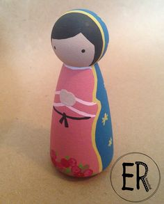 Our Lady of Guadalupe - Wooden Peg Doll