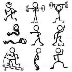 Stick Figure People Fitness royalty free stockvectorbeelden