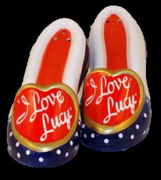 "I Love Lucy Porcelain Shoes Salt & Pepper Shakers by GR8 Things and More. $9.94. Made of porcelain and measures 2"" x 4"" x 1.5"""