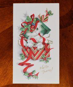 Vintage Unused Christmas Card Embossed Glitter Cat Kitten Box Cats Kittens   eBay